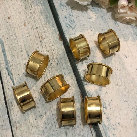 Gold napkin rings round metal holiday entertaining